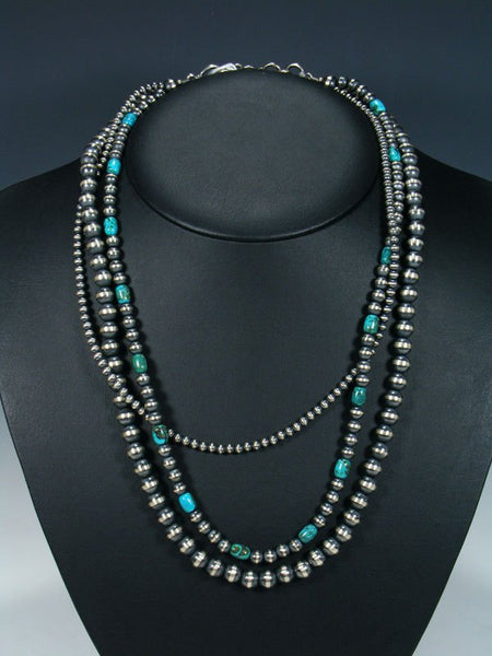 Native American Triple Strand Sterling Silver and Turquoise Bead Necklace