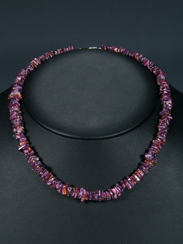 "18"" Native American Indian Jewelry Purple Spiny Oyster Necklace"