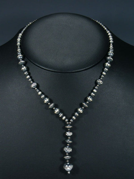 Native American Silver Bead Lariat Necklace