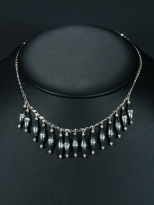 Native American Sterling Silver Bead Choker Necklace