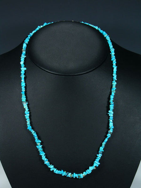"24"" Native American Indian Jewelry Single Strand Turquoise Necklace"