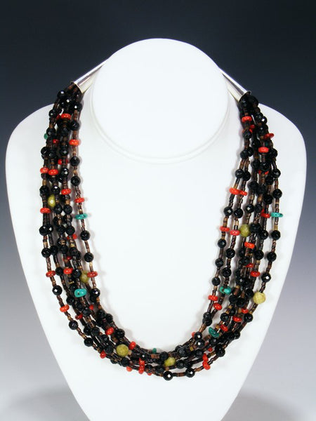 Seven Strand Santo Domingo Onyx and Shell Necklace