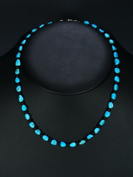 Native American Indian Jewelry Turquoise and Jet Choker Necklace