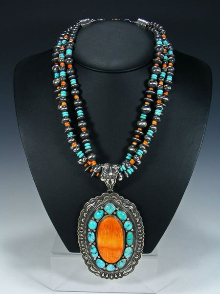 Native American Cloud Mountain Turquoise and Spiny Oyster Necklace and Earrings Set