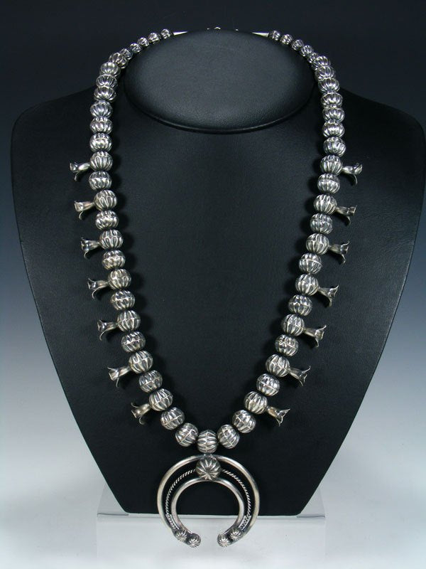 Navajo Sterling Silver Bead Squash Blossom Necklace and Earring Set
