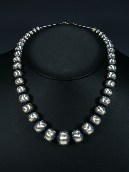 "20"" Native American Sterling Silver Navajo Pearl Bead Necklace"