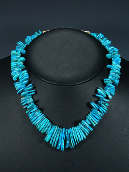 Native American Single Strand Turquoise Tab Choker Necklace