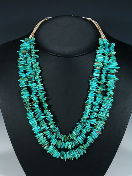 Native American Three Strand Turquoise and Shell Heishi Necklace