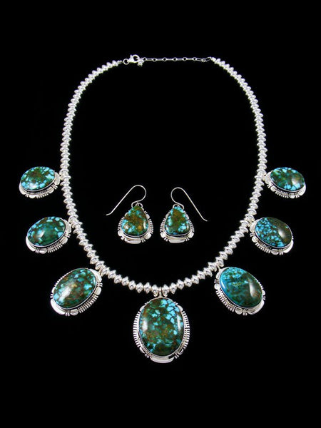 Kingman Red Web Turquoise Sterling Silver Tear Drop Necklace Set