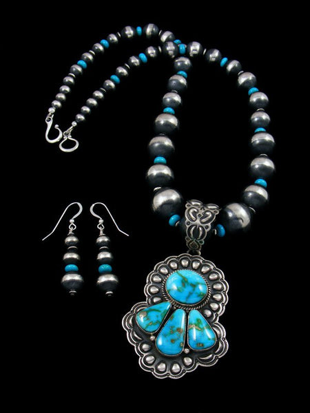 Native American Kingman Turquoise Necklace and Earrings Set