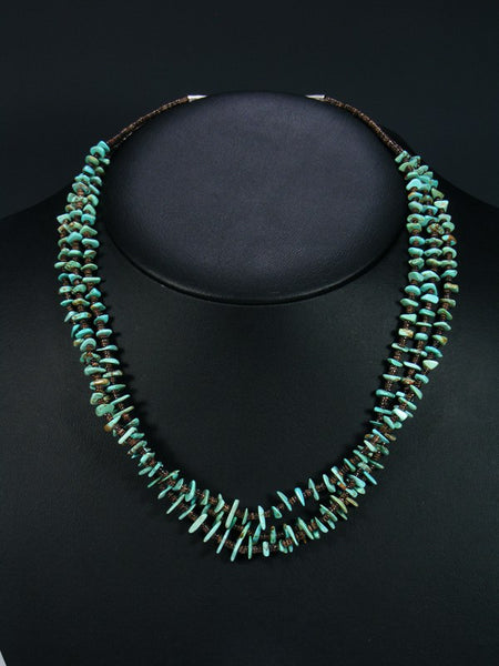 Native American Turquoise Heishi Triple Strand Choker Necklace