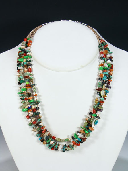 Native American Turquoise Coral and Shell Heishi Necklace