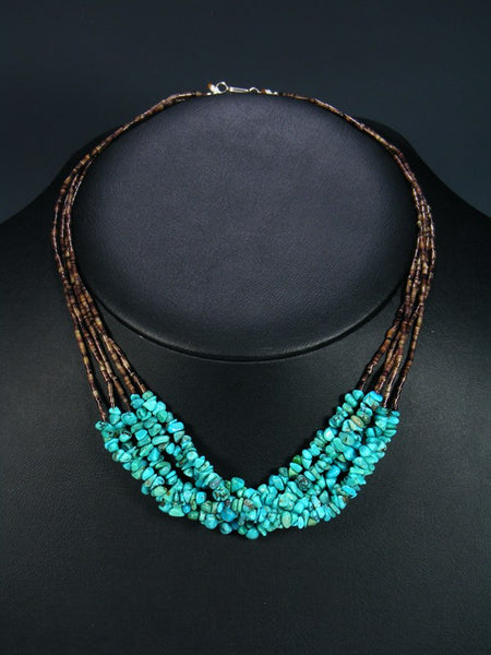 Five Strand Turquoise and Brown Shell Heishi Necklace