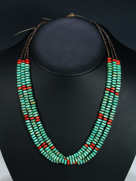 Navajo Apple Coral and Turquoise Multi Strand Necklace