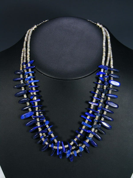 Native American Lapis and Shell Heishi Necklace