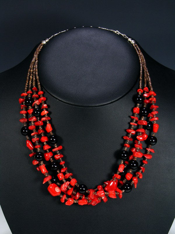 Four Strand Native American Coral and Onyx Necklace