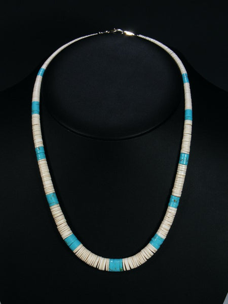 Native American Indian Santo Domingo White Shell Turquoise Necklace