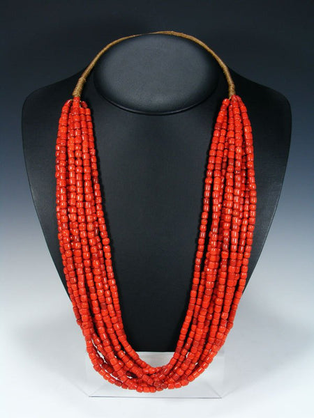 Santo Domingo Ten Strand Red Glass Trade Bead Necklace