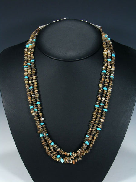 Native American Abalone Heishi Triple Strand Necklace
