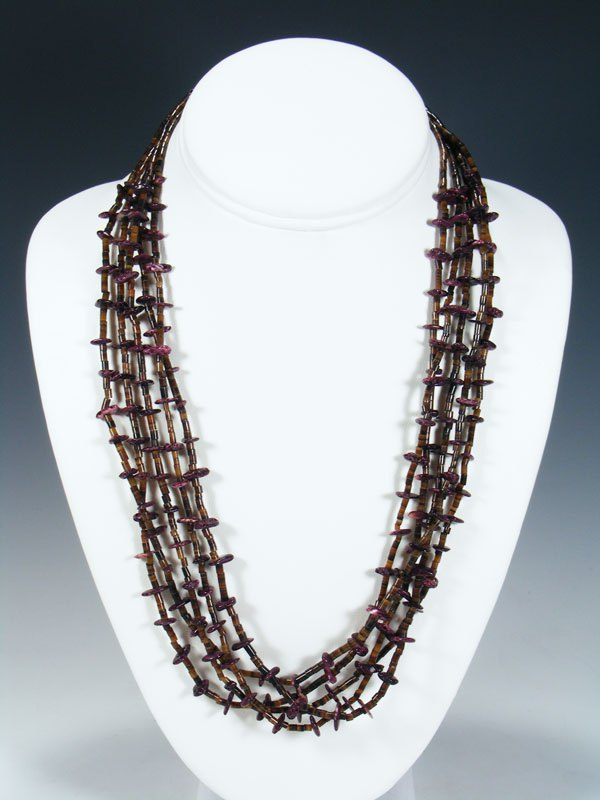 Native American Heishi Spiny Oyster Necklace