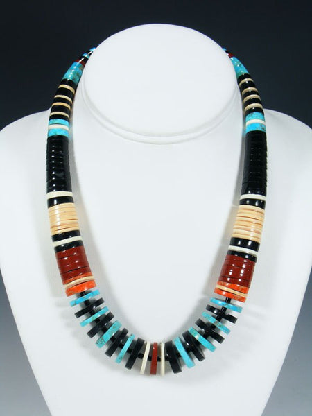 Native American Indian Jet Turquoise and Shell Necklace