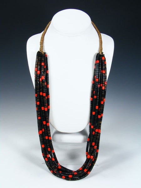 Santo Domingo Ten Strand Red Glass Trade Bead and Heishi Necklace