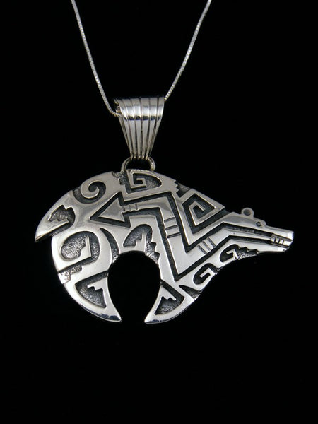 Sterling Silver Petroglyph Bear Pendant Necklace