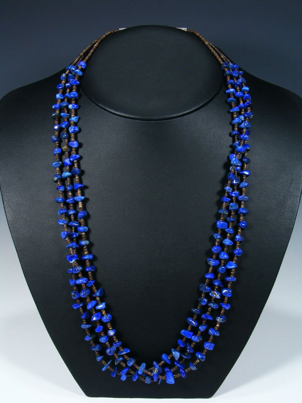 Native American Lapis and Shell Heishi Three Strand Necklace