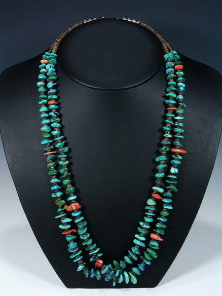 Native American Indian Jewelry Two Strand Turquoise and Spiny Oyster Necklace