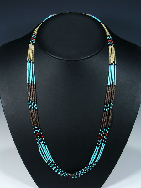 Native American Santo Domingo Turquoise 5 Strand Necklace