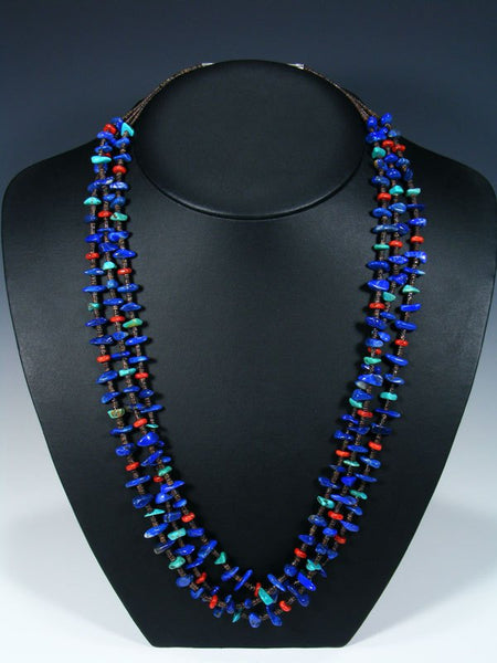 Native American Coral and Lapis Triple Strand Necklace