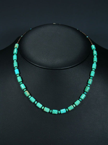 "18"" Native American Indian Jewelry Single Strand Turquoise Necklace"