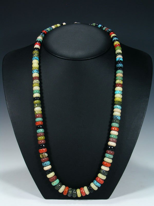 Native American Turquoise and Serpentine Beaded Single Strand Necklace