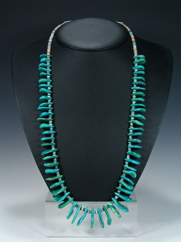 Native American Single Strand Turquoise and Heishi Necklace