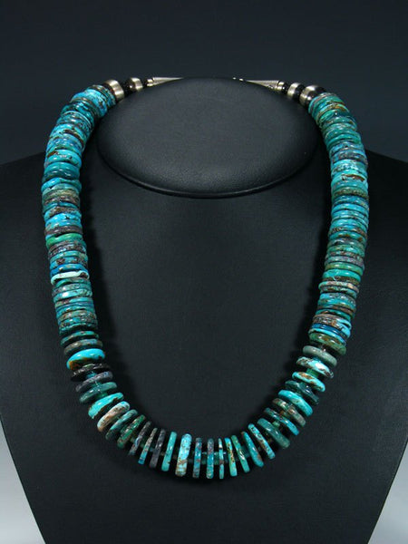 Native American Heavy Turquoise Chunky Disc Necklace