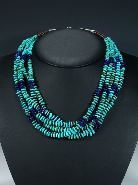 Native American Santo Domingo Turquoise and Lapis Necklace