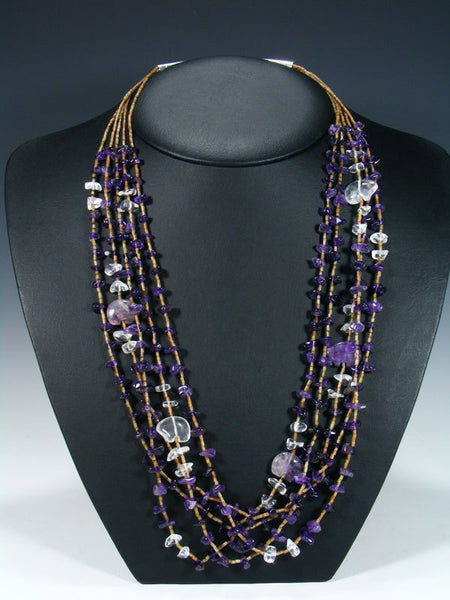 Native American Amethyst Fetish Bear Necklace