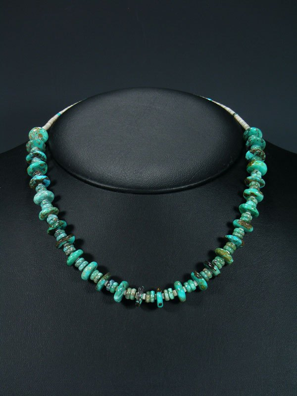 Native American Jewelry Single Strand Turquoise and Heishi Necklace