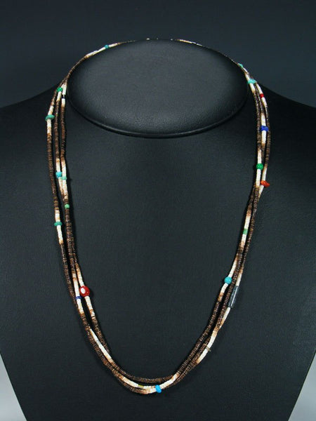 Native American Santo Domingo Heishi Triple Strand Necklace