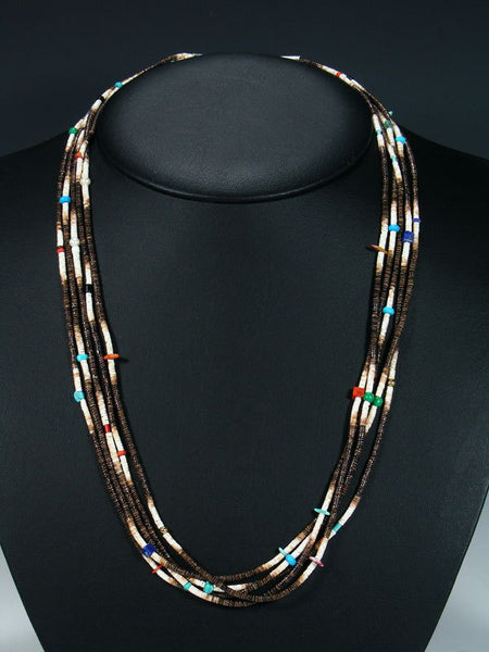 Native American Santo Domingo Heishi 5 Strand Necklace