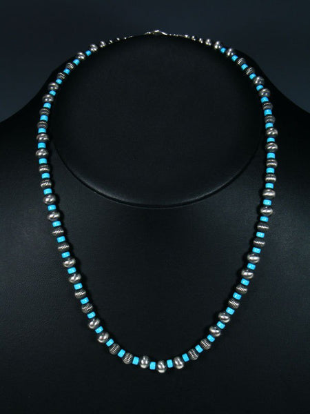 "20"" Navajo Sleeping Beauty Turquoise Sterling Silver Bead Necklace"