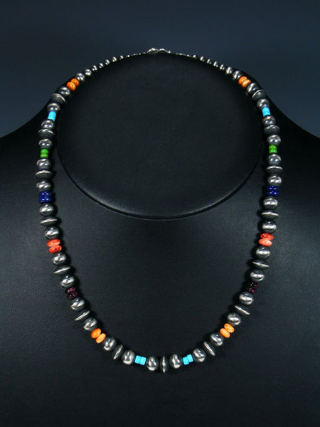 "20"" Turquoise and Spiny Oyster and Sterling Silver Bead Necklace"