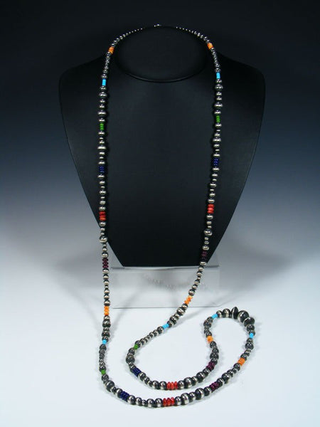 Native American Sterling Silver Multi Stone Extra Long Bead Necklace