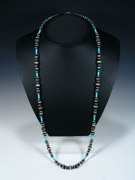 Native American Sterling Silver Turquoise Extra Long Bead Necklace