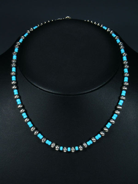"18"" Navajo Sleeping Beauty Turquoise Sterling Silver Bead Choker Necklace"