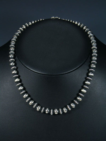 "Navajo 18"" Sterling Silver Bead Necklace"