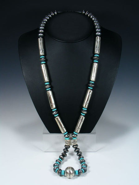 Native American Sterling Silver Navajo Turquoise and Bead Necklace Jocla Set