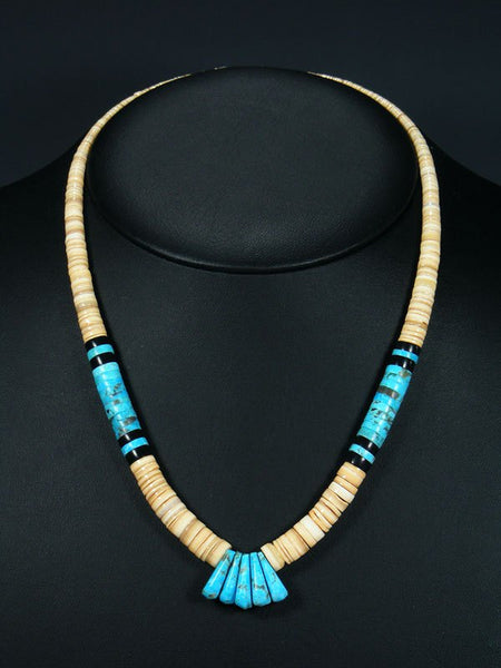 Native American Santo Domingo Turquoise and Shell Necklace