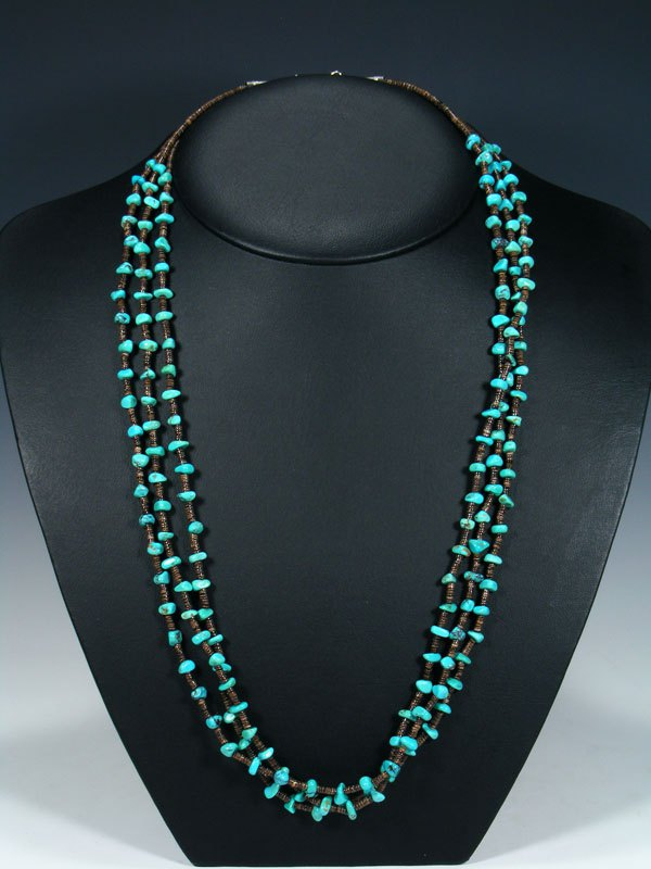 Native American Heishi and Turquoise Triple Strand Necklace