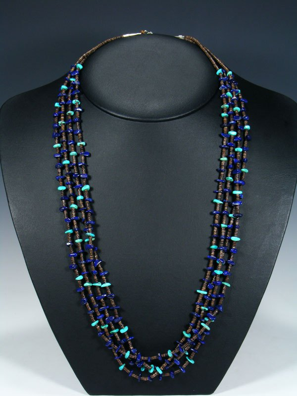 Native American Lapis Heishi and Turquoise 4 Strand Necklace